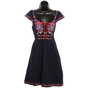 FLORET Boho Embroidered Dress with Pockets - NAVY